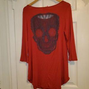 Women's 3/4 sleeve Skull cut-out blouse